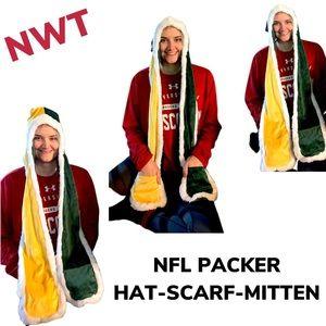 NFL PACKER HAT-SCARF-MITTEN NWT